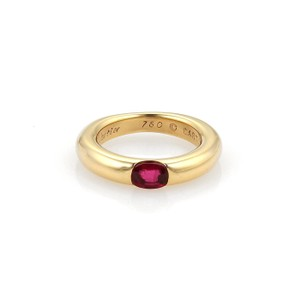 Cartier Ellipse Oval Ruby 18k Yellow Gold Band Ring Size EU 49-US 5