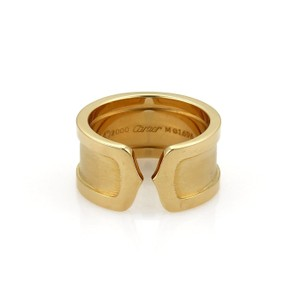Cartier Double C2 18k Yellow Gold 10mm Wide Band Ring Size EU 51-US 5.75 Cert
