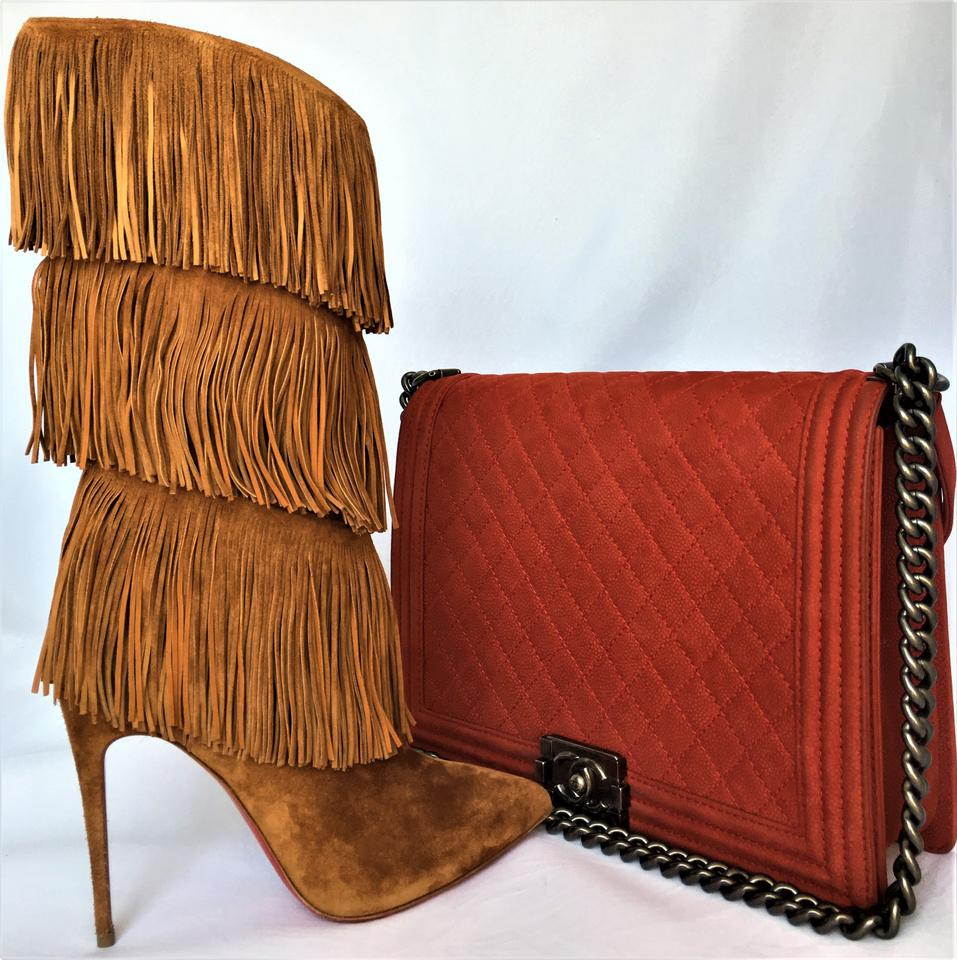 8e76b96ac49 Christian Louboutin Brown Tinafrange Italy Suede Lady Fashion Toe Red Sole  Pull-on 100 High Heel Boots Booties