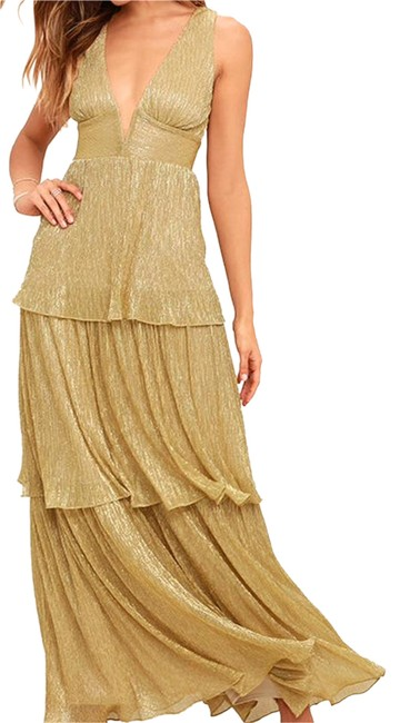 Item - Gold Living The Dream Maxi Long Cocktail Dress Size 10 (M)