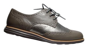 Cole Haan New Traditional Brogue Leather Upper Rubberoutsoles Grey Flats