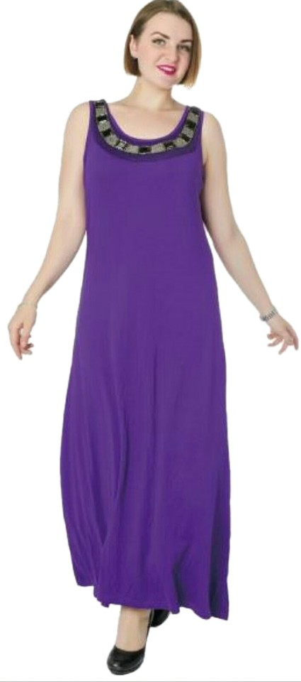 Coral Purple Royal Long Casual Maxi Dress Size 20 (Plus 1x) 65% off retail
