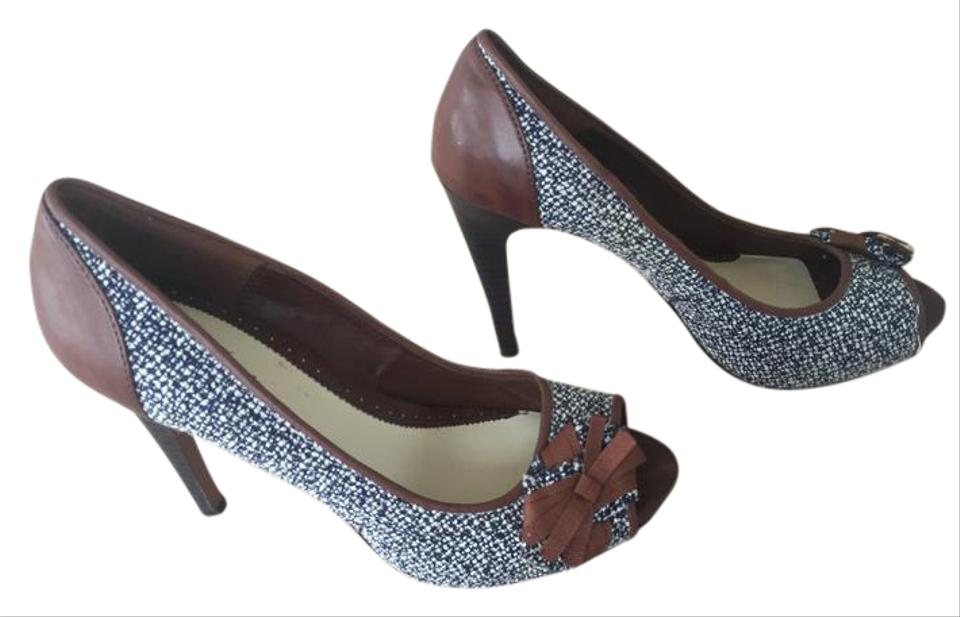 22e8bfd5f5 Lela Rose for Payless Tweed Boucle Navy Brown Peep Toe Stiletto Pumps
