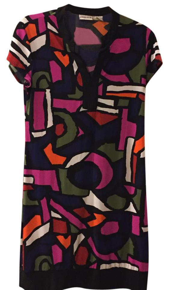 7ed08577468e Chico s Color-block Mid-length Short Casual Dress Size 0 (XS)