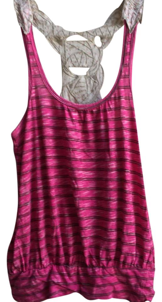 a121f6bf Free People Pink Striped Floral Lace Embroidered Racerback Tank Top/Cami