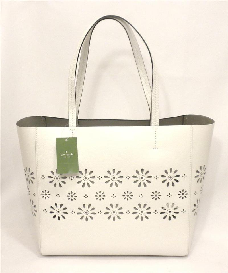 983792ff0eef Kate Spade Faye Drive Hallie Daisies Perforated White Leather Tote ...