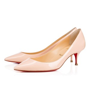 Christian Louboutin Pigalle Follies Patent Leather Pigalle Follies 55 Kitten Heels Beige Pumps