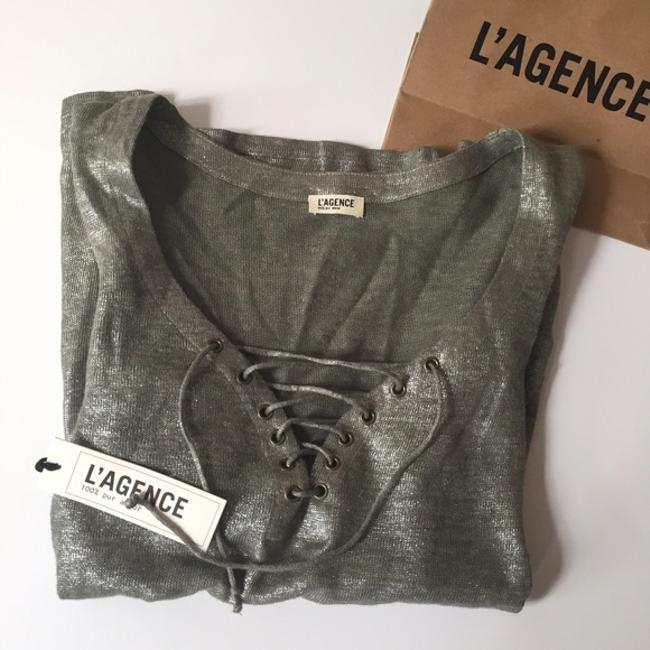 Item - Silver/Grey Metallic Lace Up Blouse Size 6 (S)
