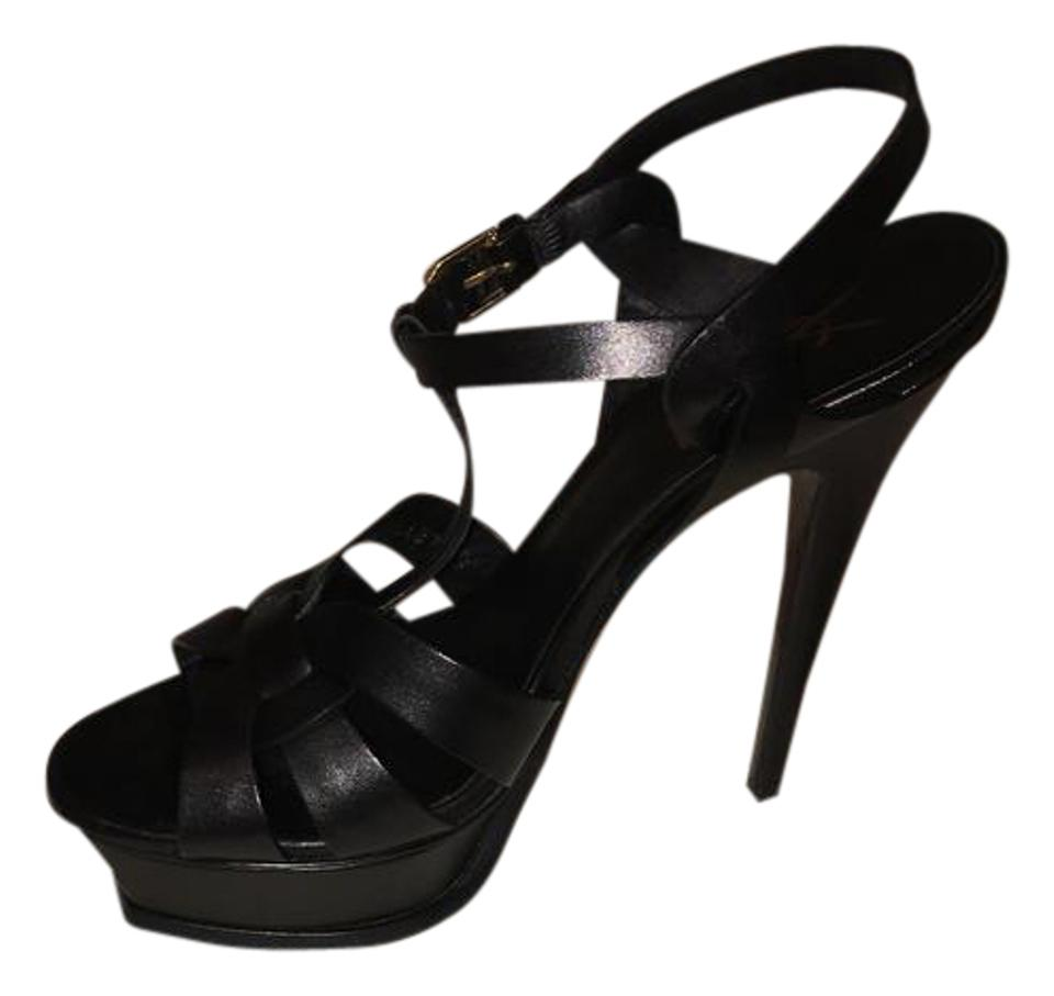 Saint Laurent Black Platform Tribute Yves Leather Platform Black 38) Sandals 05e847