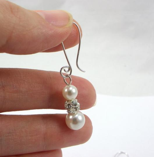 White/Ivory Pearl Sterling Silver Dangle Earrings