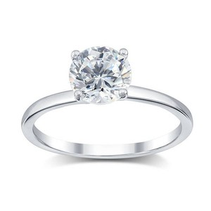 14 K White Gold 0.7 Tcw D Si2 Round Diamond 1.60 Karat Engagement Ring