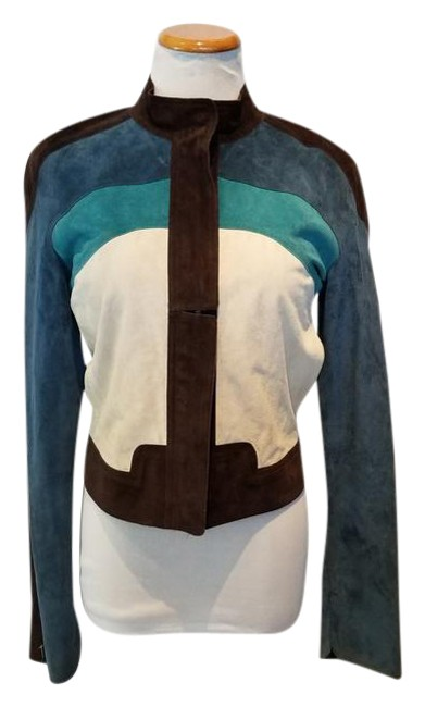 Item - Brown Teal Light Teal and Cream Colorblock Suede Sports Jacket Size 8 (M)