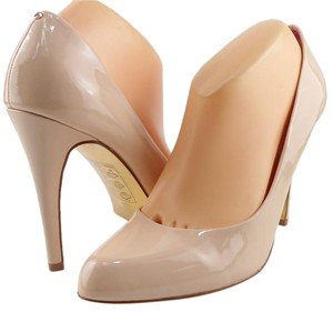 Ted Baker Patent Round Toe Nude Tan Pumps