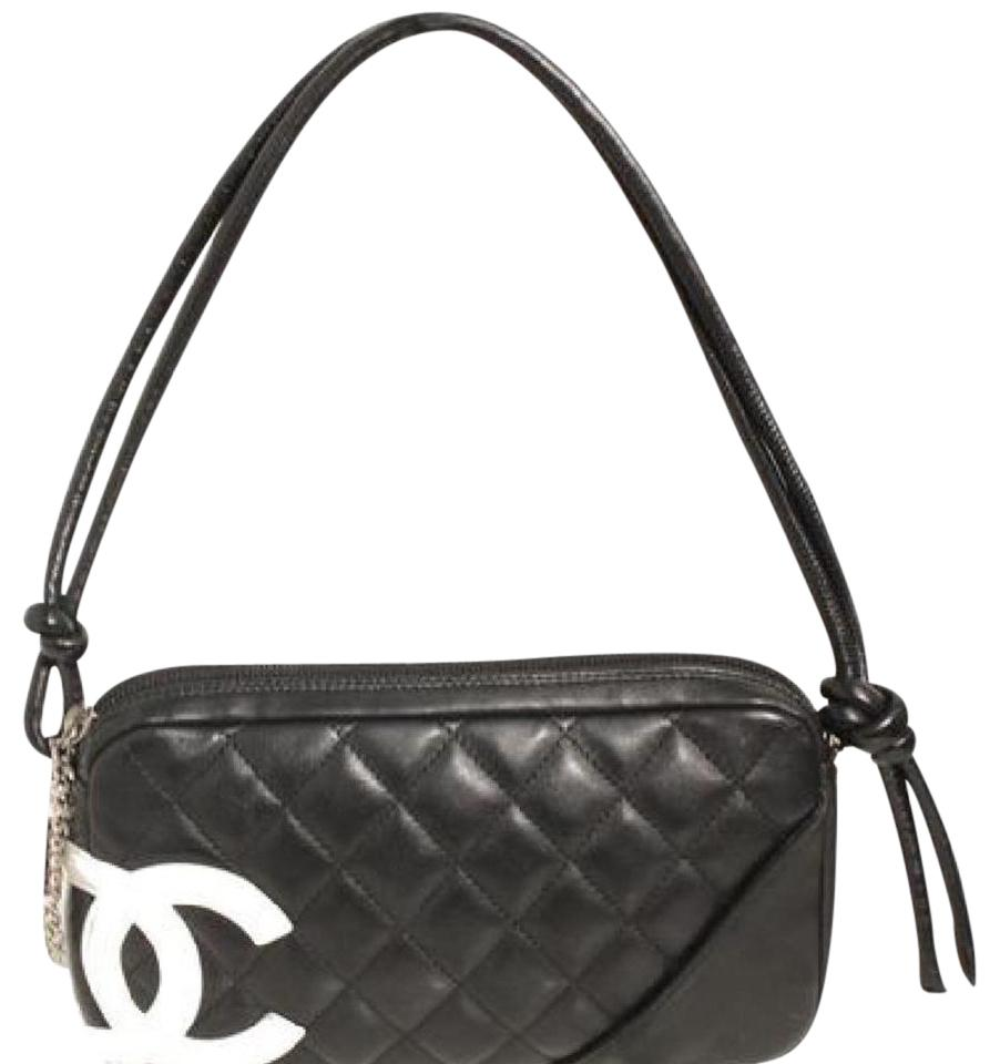 5032eefd6a08 Chanel Cambon Ligne Quilted Pochette Black and White Leather Shoulder Bag