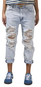 OneTeaspoon Denim Destroyed Ripped Boyfriend Cut Jeans-Light Wash