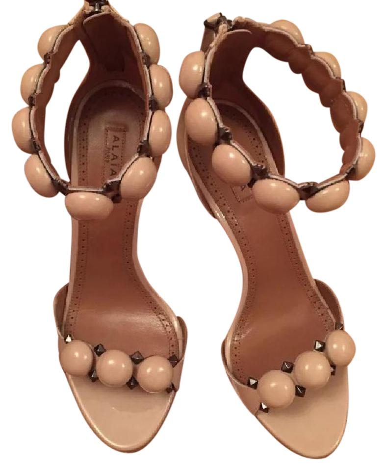 ALA?A Leather Nude Patent Leather ALA?A Bombe 90mm Heel Sandals 99359c