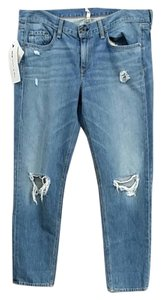 Rag & Bone Ripped Boyfriend Cut Jeans-Light Wash