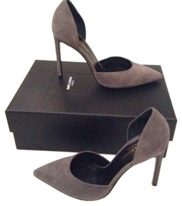 Saint Laurent Classic D'orsay Heels Stiletto Suede Leather Sophisticated New In Box Designer Luxury Of Gray Pumps