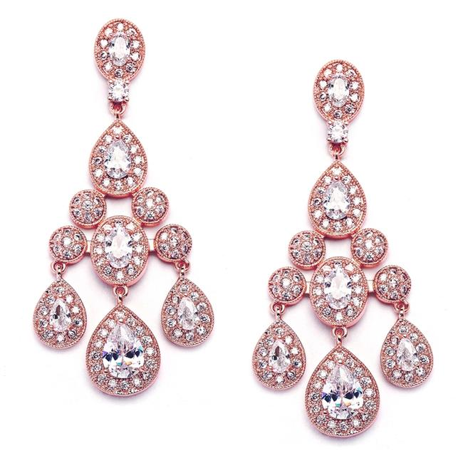 Item - Rose Gold Chandelier Cz and Prom Earrings