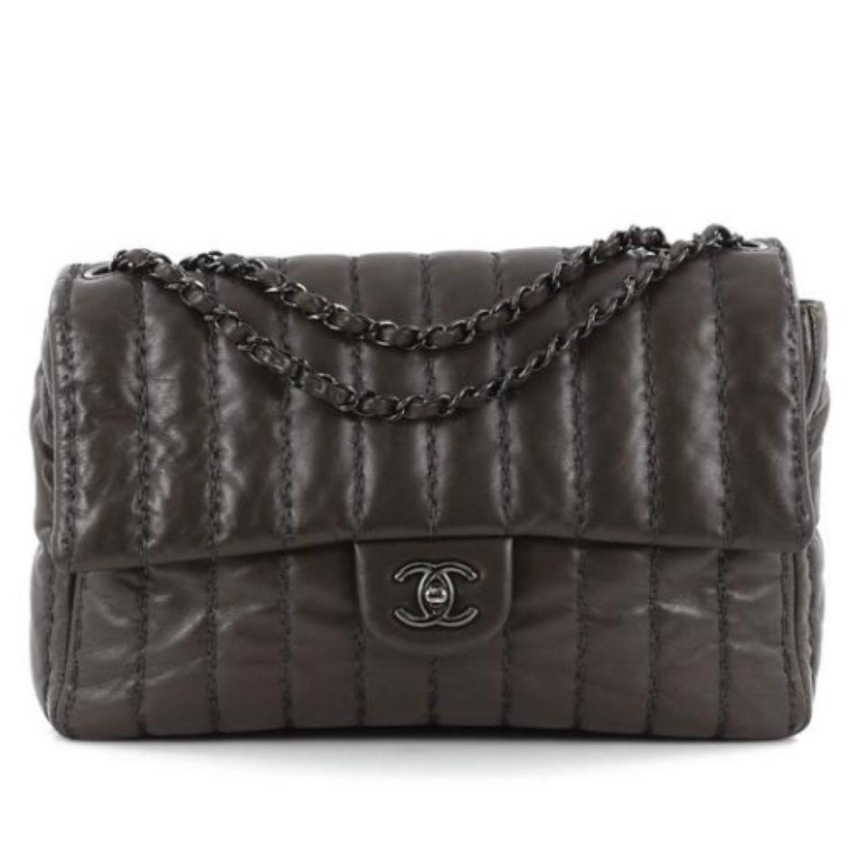 ab56dcbdd490 Chanel Vertical Stitch Single Flap Quilted Dark Brown Lambskin ...