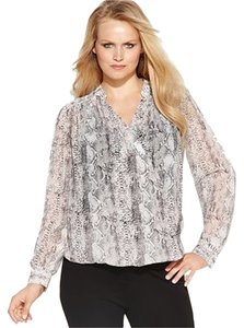 INC International Concepts Top Snake Print Blush Pink, Black and White