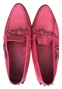 Tod's Loafers Driving Mocassin Leather Red/ Pink Flats