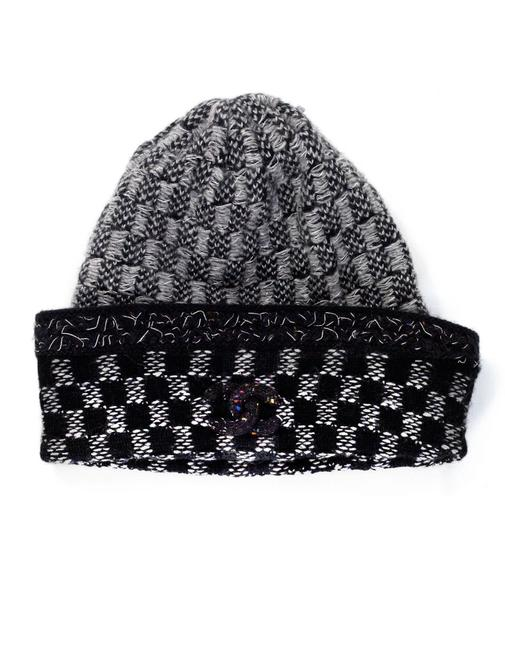Item - Black Grey and Silver & Cashmere Knit Beanie Hat