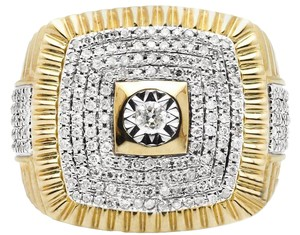 Jewelry Unlimited Men's Square Pave Genuine Diamond Presidential Pinky Ring 1.25 ct