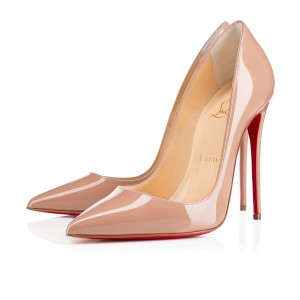 Christian Louboutin Red Sole Pointed Toe Patent Leather 120mm Sokate Beige Pumps