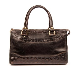 Brahmin Leather Crocodile Vintage Classic Satchel in Black Croc