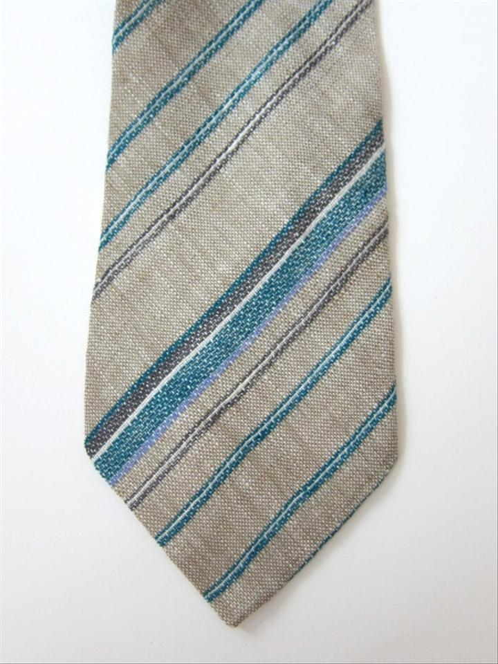 Ermenegildo Zegna Neutral / Green / White / Grey Linen Striped Tie ...