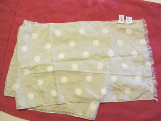 Limited Express 100% Beautiful Putty Scarf with White Polka Dots Long Wide
