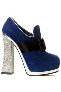 Miu Miu Hidden Platform Designer Vintage Navy with Multi Colored Heel Boots