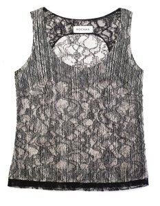 Rochas Sleeveless Lace Silk Top Black and cream
