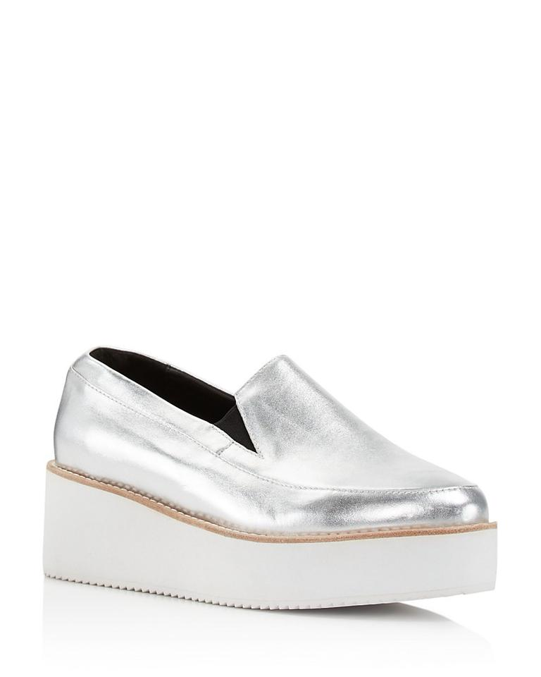 cd046616b57 Sol Sana Silver Tabbie Metallic Leather Wedge Loafers Platforms Size ...
