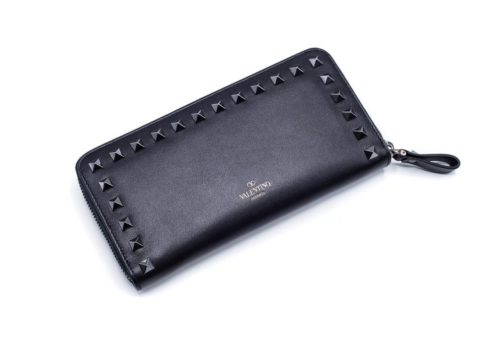 9c48a9c96c Valentino Valentino Women's Black Noir Leather Rockstud Zip Around Wallet  Image 0 ...