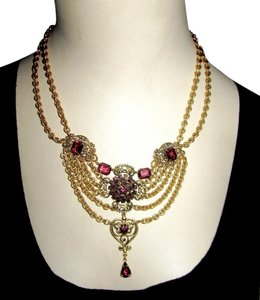 Erickson Beamon Amethyst Purple Crystal Necklace Tiered Baroque Statement