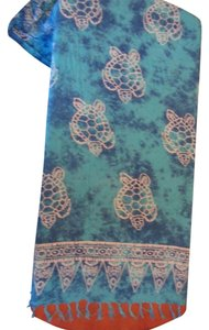 Nature Breeze Turquoise blue white batik cover up wrap 100% cotton, Large