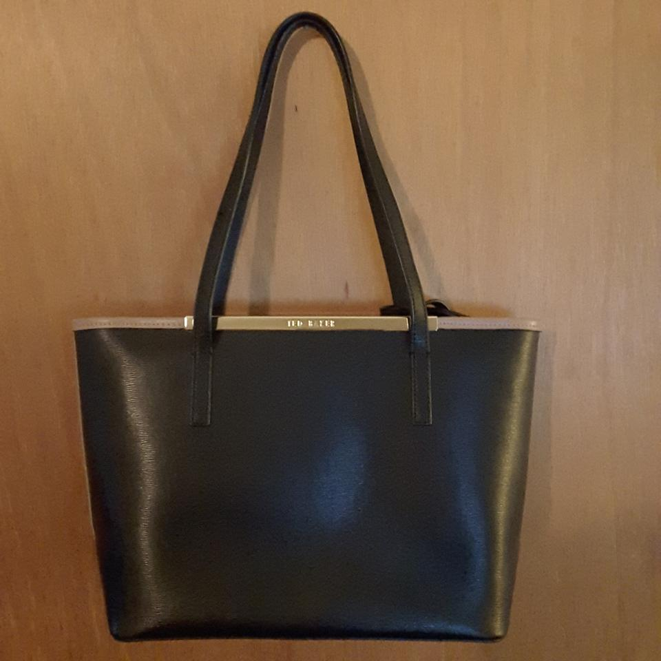 d6d6e01f28 Ted Baker Noelle Crosshatch Shopper Tan/Black Leather Tote - Tradesy