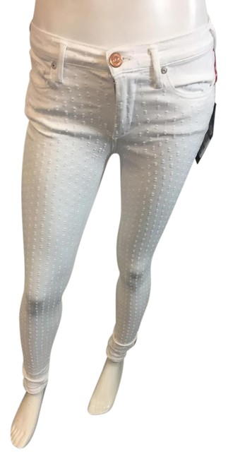 Item - White Distressed 814178 Halle Mid Rise Mini Dot Skinny Jeans Size 27 (4, S)