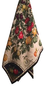 "Nicole Miller Multi Fruit Stand Jacquard Large Silk Scarf //38"" Inch Square"