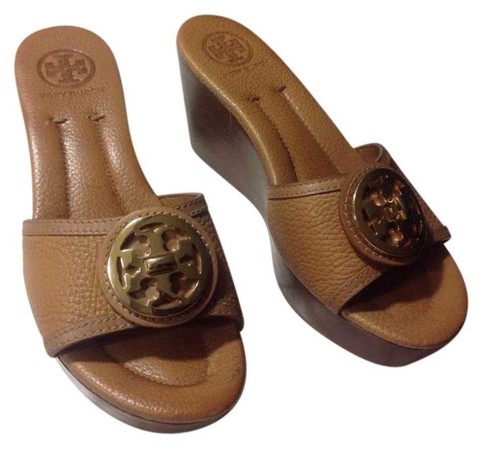 Tory Large Burch Brown Light Large Tory Gold Logo Wedge Sandals 4cf0c4