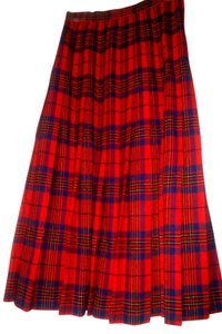 Pendleton School Girl Leslie Tartan Mod Rocker Punk Diva Skirt Red Pleated Plaid