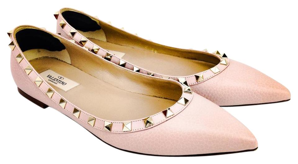 360bd85a5985 Valentino Rockstud Pointy Toe Ballerina Leather Studded Blush Flats Image 0  ...