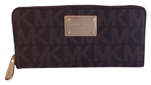 Michael Kors Michael Kors JS Zip Around Continental Wallet in Brown PVC
