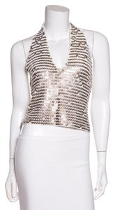 Chanel White & Gold Halter Top