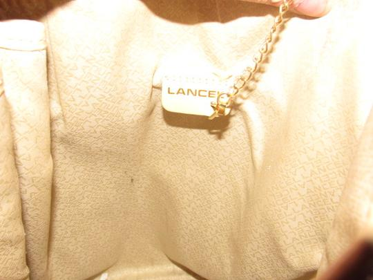 Lancel Excellent Vintage By Xl Bucket Great Everyday Tote in Ivory leather and tan lizard embossed leather