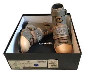 Chanel New With Tags Ankle Limited Edition Gray, Beige Boots