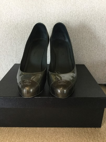 Chanel Patent Leather Monogram Silver olive Pumps
