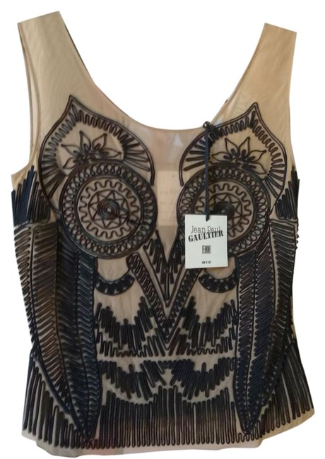 Preload https://img-static.tradesy.com/item/21589203/jean-paul-gaultier-nude-tan-black-sexy-with-beading-blouse-size-10-m-0-1-650-650.jpg
